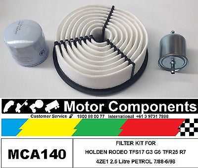 FILTER KIT  for HOLDEN RODEO TFS17 G3 G6 TFR25 R7 Jackaroo UBS 4ZE1 2.6L 88-6/98