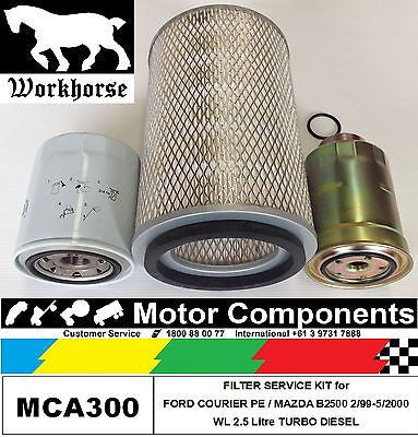 Filter Service Kit Oil Air Fuel FORD COURIER PE  WL 2.5L 2/99-5/00 Turbo Diesel