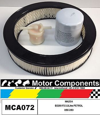 FILTER KIT OIL AIR FUEL for MAZDA B2200 F2 PETROL 2.2 LITRE 3/1988 to 1993