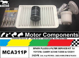 SPARK PLUGS & FILTER KIT Air Oil Fuel for TOYOTA CAMRY ACV40 2.4L 2AZ-FE 4 cyl