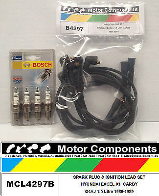 SPARK PLUGS & LEAD SET BOSCH for HYUNDAI EXCEL X1 G4AJ 1.5L Petrol  1986 > 1990