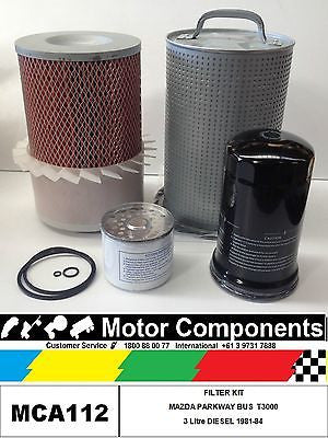 FILTER SERVICE KIT Air Oil Fuel MAZDA PARKWAY BUS T3000 HA 3L DIESEL 1981 > 1984