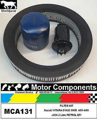 Suzuki VITARA SV420 SWB J20A 2 Litre FILTER KIT Oil Air Fuel April 1998 > 2000