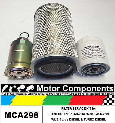 Filter Service Kit for MAZDA B2500, BRAVO 4/96-2/99 WL 2.5L incl turbo diesel