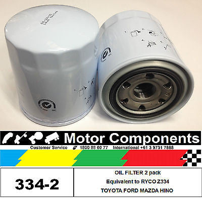OIL FILTER 2 PACK Z334 for TOYOTA Landcruiser Hilux MAZDA B2500 FORD Courier