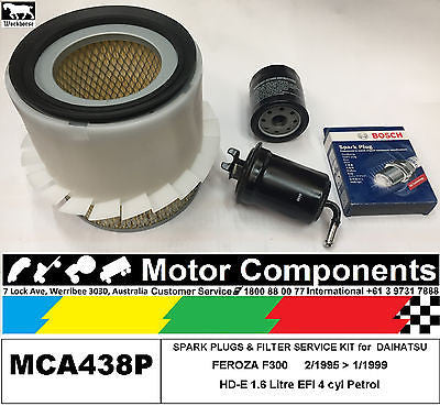 SPARK PLUG & FILTER SERVICE KIT for DAIHATSU FEROZA F300 HD-E 1.6L  2/95> 99