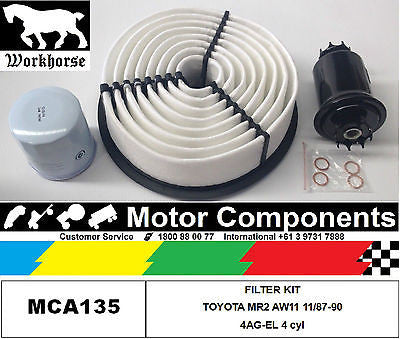 FILTER SERVICE KIT Oil Air Fuel TOYOTA MR2 AW11 4AG-EL 1.6L 1987 to 1990