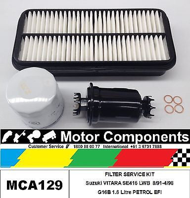 FILTER SERVICE KIT Air Fuel Oil Suzuki VITARA SE416 LWB G16B 1.6 Litre 8/91-4/98