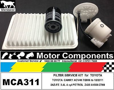 FILTER SERVICE KIT Air Oil Fuel for TOYOTA CAMRY ACV40 2.4L 2AZ-FE 4 cyl 06 > 11