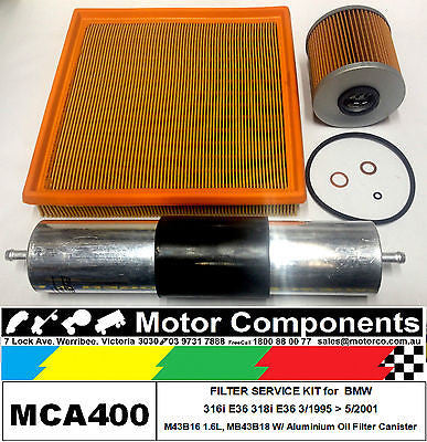 FILTER KIT Oil Air Fuel for BMW 316i E36 M43B16 1.6L M43B18 1.8L ALUMINIUM OIL