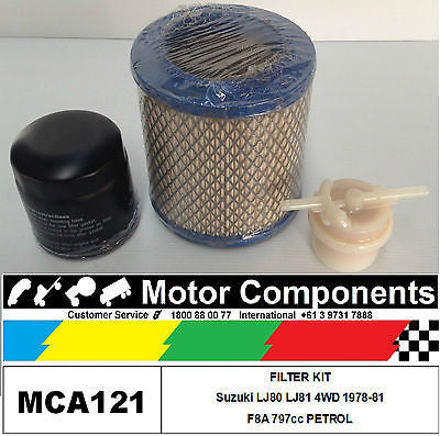 SUZUKI STOCKMAN LJ80 LJ81 FILTER KIT F8A 797cc PETROL 78-81