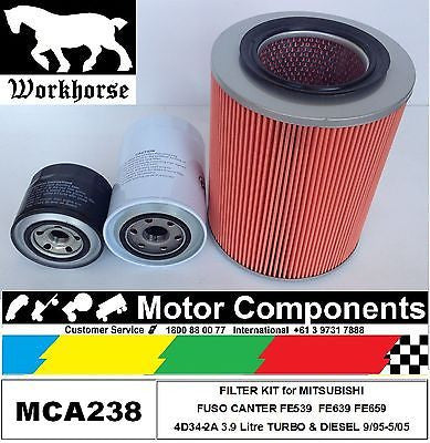MITSUBISHI CANTER FE539 FE639 FE649 FE659 4D34-2A 3.9L inc TURBO FILTER KIT