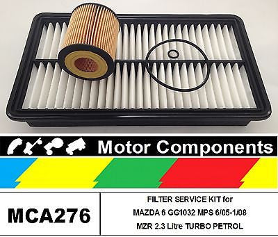 FILTER KIT for MAZDA 6 GG1032 MPS MZR 2.3 LITRE TURBO PETROL 6/05-1/08