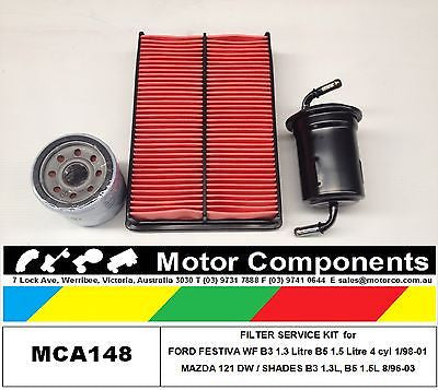 FILTER KIT for MAZDA 121 HATCH DB1031 B3 1.3L DB1051 B5 1.5L EFI 12/90-97