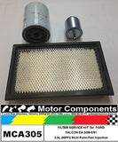 FILTER SERVICE KIT Air Oil Fuel FORD FALCON EA 3.9L MPFI 3/1988> 6/1991 MCA305