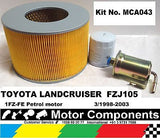 TOYOTA LANDCRUISER FZJ105  1FZ-FE eng 3/98-03  OIL FUEL AIR FILTER SERVICE KIT