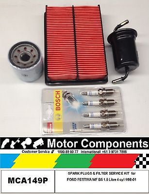 SPARK PLUGS  & FILTER SERVICE KIT for FORD FESTIVA WF B5 1.5 Litre  1/98-01
