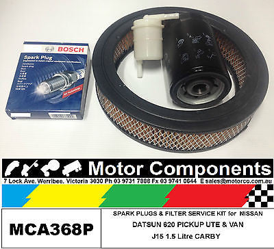 SPARK PLUGS & FILTER KIT Oil Air Fuel for DATSUN 620 PICKUP UTE 1500 1973>1975