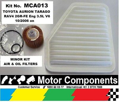 Service Kit for TOYOTA Aurion Rav 4 Tarago AIR & OIL FILTER 2GR-FE 3.5L V6  2006 on