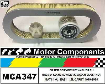 FILTER KIT Oil Air Fuel for SUBARU BRUMBY LEONE ROYALE SKI WAGON GL GLA GLS