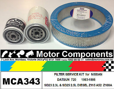 FILTER KIT Oil Air Fuel for NISSAN DATSUN 720 SD23 2.3L DIESEL SD25 2.5L	1983