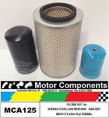 FILTER SERVICE KIT for NISSAN CIVILLIAN W40 ED33 3.3L DIESEL 4 cyl 5/84-9/91