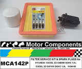 FILTER SERVICE KIT & SPARK PLUGS for HYUNDAI EXCEL X3  1.5 Litre  1994 - 2000