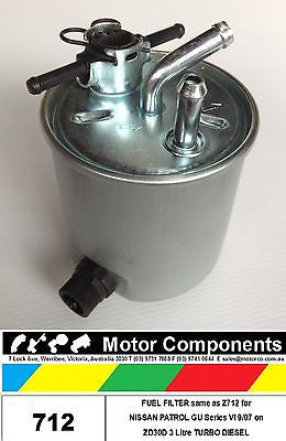 FUEL FILTER  for PATROL GU VI  ZD30D 3 Litre TURBO DIESEL 9/07 on SAME AS Z712