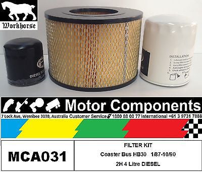 FILTER SERVICE KIT Air Fuel Oil for TOYOTA COASTER HB30 2H 4L Diesel 1987 > 90