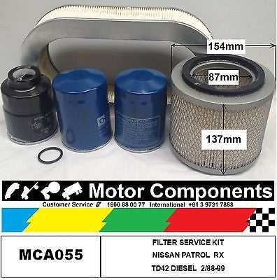 FILTER SERVICE KIT for NISSAN PATROL RX TD42 4.2Litre Diesel 88-99 AIR FUEL OIL
