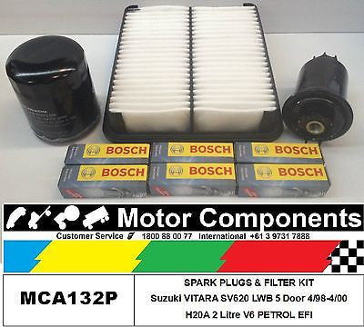 Suzuki VITARA SV620 SWB H20A 2L V6 SPARK PLUG & FILTER KIT Oil Air Fuel 98>2000
