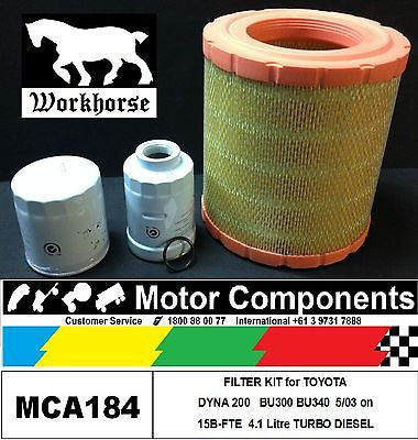 FILTER KIT for TOYOTA DYNA 200  BU300 BU340 15B-FTE 4.1 Litre TURBO DIESEL 03 on
