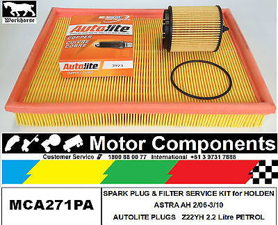 SPARK PLUG & FILTER Service Kit for HOLDEN ASTRA AH Z22YH 2.2L