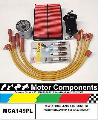 SPARK PLUGS LEADS & FILTER SERVICE KIT for FORD FESTIVA WF B5 1.5 Litre  1/98-01