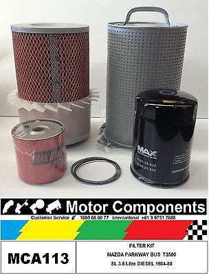 FILTER KIT Oil Air Fuel  MAZDA PARKWAY BUS T3500 1984 > 1988 SL 3.5 Litre DIESEL