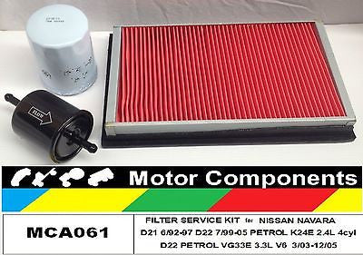 FILTER KIT for NAVARA D21 D22 VG33E 3.3L V6 3/03-12/05 KA24E 6/92-97 VG30E 00-05