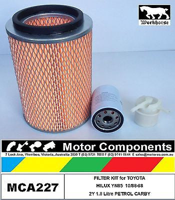 TOYOTA HILUX YN85 2Y 1.8 Litre CARBY 10/88-98 FILTER SERVICE KIT