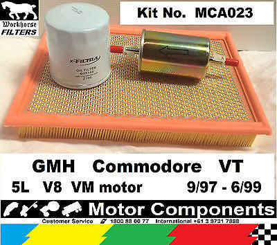 FILTER SERVICE KIT Oil Air Fuel HOLDEN Commodore VT 5L V8 VM motor 9/1997-6/1999