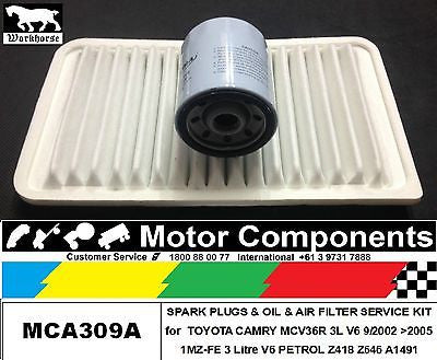 FILTER SERVICE KIT Air Oil TOYOTA CAMRY MCV36R 3L V6 1MZ-FE 9/02 > 2005