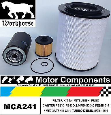 FUSO CANTER FE83C FE83D 2.0 FE84D 3.0 FE84D 3.5, 4.9L 4M50 TURBO FILTER KIT