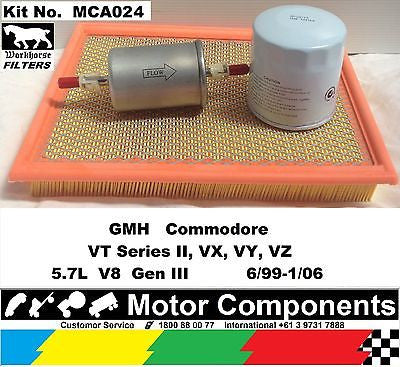 SERVICE KIT GMH Commodore VT Series2 VX VY 5.7L V8 GEN3 6/99-1/06 OIL FUEL & AIR