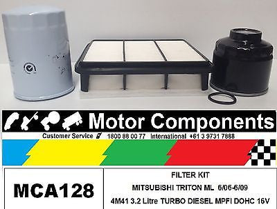 FILTER KIT MITSUBISHI TRITON ML 4M41 3.2L TURBO DIESEL Oil Fuel Air 2006-6/09