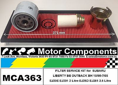 FILTER KIT Oil Air Fuel for SUBARU LIBERTY BE OUTBACK EJ20E EJ201 2L EJ25D EJ251