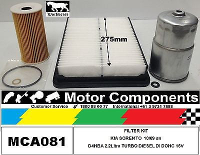 FILTER KIT KIA SORENTO TURBO DIESEL B4HBA 2.2Litre  10/09 on 275mm Air Filter