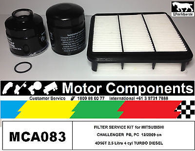 MITSUBISHI CHALLENGER 2.5L TURBO DIESEL ML MN 4D56T FILTER KIT Air Oil Fuel 09>