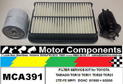 FILTER KIT Oil Air Fuel for TOYOTA TARAGO TCR10 TCR11 TCR20 TCR21 2TZ-FE 2.4L 90>00