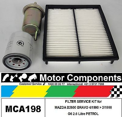 FILTER SERVICE KIT Air Oil Fuel for MAZDA B2600 BRAVO G6 2.6 Litre PETROL 90-99