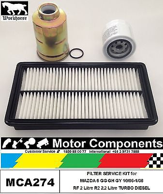 FILTER KIT for MAZDA 6 GG GH GY RF 2 Litre GY R2 2.2L TURBO DIESEL 10/06-1/08