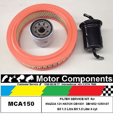 FILTER SERVICE KIT for MAZDA 121 HATCH DB1031 B3 1.3L DB1052 B5 1.5L 12/90-97