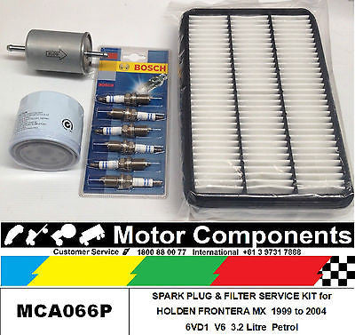 FILTER SERVICE KIT HOLDEN FRONTERA MX V6 OIL FUEL AIR & SPARK PLUGS 1999 to 2004
